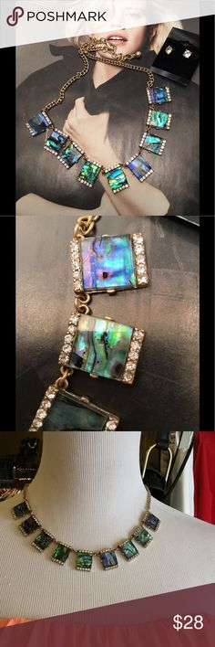 Abalone Gold tone Necklace Set Beautiful set that features Abalone squares accented with clear Rhinestones on a gold tone 16 inch chain with 2 inch extender. Includes matching stud Rhinestone earrings. (This closet does not trade) Boutique Jewelry Necklaces