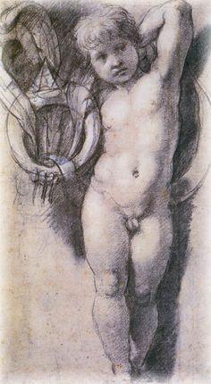 ⚜️ Dibujos artísticos y arquitectónicos. RAPHAEL (Raffaello Sanzio da Urbino) ~ putto carrying de Medici ring and feathers Life Drawing, Drawing Sketches, Painting & Drawing, Art Drawings, Renaissance Kunst, High Renaissance, Figure Sketching, Figure Drawing, Michelangelo