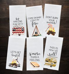 Camper Kitchen Towel - Camping Gift - Camp Kitchen - RV Decor - Vintage Trailer Camper Decor - Motor Home Decor Towels - Retirement Gift by DoTakeItPersonally on Etsy Camping Desserts, Camping Snacks, Camping Humor, Camping Car, Camping Ideas, Camping Supplies, Campsite, Camping Crafts, Family Camping
