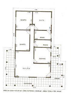 17 modelos de projetos de plantas de casas populares, que lhe ajudarão na elaboração da planta de sua casa própria. As plantas de casas populares são as mais buscadas por brasileiros. House Layout Plans, Dream House Plans, House Layouts, Small House Plans, House Map, My House, B Plan, Architectural House Plans, Home Design Floor Plans