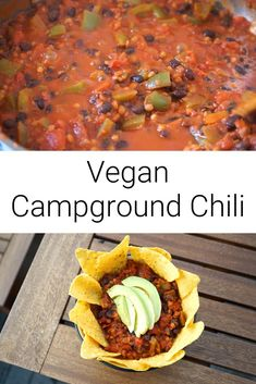 As a couple of chilli fans, we have a lot of great recipes for our favourite food – but this one is by far the easiest and one of our favourites too! We make it all the time when we're on the move from place to place, hence the name 'Campground Chilli'. You won't find a faster, more delicious chilli to cook from scratch!' Hearty Chili Recipe, Vegan Chili, Vegan Soup, Chili Recipes, Soup Recipes, Dairy Free Recipes, Great Recipes, Vegan Recipes, Favorite Recipes