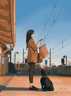 Illustrations Discover Recent sketches 7 Atey Ghailan Art Anime Fille, Anime Art Girl, Aesthetic Art, Aesthetic Anime, Art Sketches, Art Drawings, Anime Scenery, Cartoon Art, Cute Art