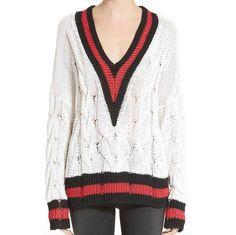 Rag and Bone Emma Ivory V-Neck Pullover Sweater