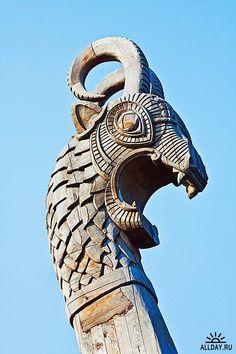 Драккар, военный корабль викингов - Растровый клипарт