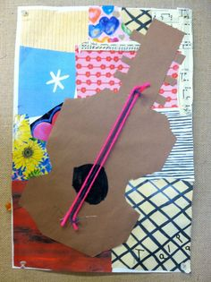 Kindergarten Picasso Inspired Guitar Collages