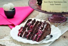 Chocolate Cake with Mascarpone and Sour Cherries Chocolate Cherry Cake, Dark Chocolate Cakes, Chocolate Recipes, Ricotta Cake, Mascarpone Cake, Orange Recipes, Cake Tins, Unsweetened Cocoa, Pavlova
