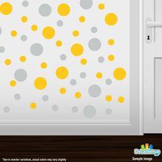 Light Grey / Yellow Polka Dot Circles Wall Decals