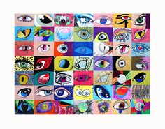 all the student worked hard, and it is finished! This is the completed EYE PROJECT. Collaborative Art Projects, Art Trading Cards, School Murals, 6th Grade Art, Kids Art Class, Drawing Projects, Middle School Art, Mural Art, Art Classroom