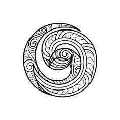 New Zealand Maori silver fern koru yin yang tattoo flash black and ...
