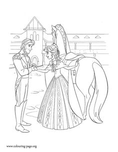 Anna asks to Prince Hans to take care of Arendelle while she is away. How about to print and color this beautiful Disney Frozen coloring page?
