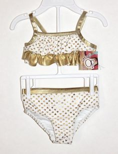 f1c567bb8cbe8 OP Ocean Pacific Baby Girls Gold Metallic Heart Bikini Swimwear 6-9M   OceanPacific