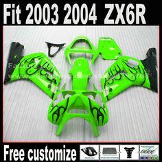 Customize Motorcycle parts fairing kit for 2003 2004 Kawasaki ZX6R Ninja 636 black flames in green  03 04 ZX 6R Fairings set DG2 #Affiliate
