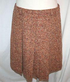 MIU MIU Wool Brown Tweed Pleated Skirt Sz 44  #MIUMIU #Pleated