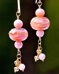 Pink Opal and Bubble Gum Artisan Glass Bead Earrings