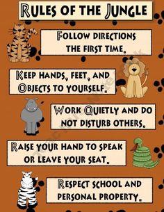 jungle theme classroom | Jungle Theme Classroom Rules | School
