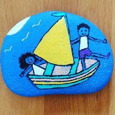 #paintedstones #painting #stones #drawing #boat #lovers #sea #travel