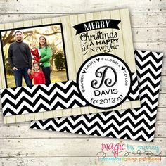 Rustic Chevron Family Christmas Card Double sided by MagicbyMarcy, $15.00