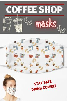 A design for coffee lovers! Face masks help you express yourself even when you can't show your face and protect you at the same time. #facemask #mask #coffeemask #maskcoffeedesign #maskforcoffeeshop #maskcoffee #staysafe #drinkcoffeestaysafe #staysafedrinkcoffee Different Kinds Of Coffee, Coffee Mask, Coffee Design, Make A Donation, Coffee Lovers, Transparent Stickers, Mask Design, Barista, Coffee Drinks