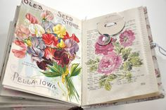 Wings of Whimsy - DIY Old Book Crafts No 6B - Sweet Pea Journal - Sewn pocket for scraps and notecards