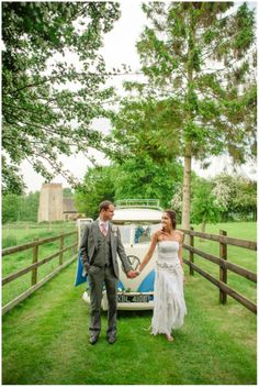 bare foot bride and groom with campervan