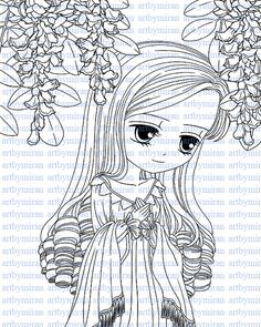 Digital Digi Stamps Big Eye Doll Coloring Page Girl with Dove