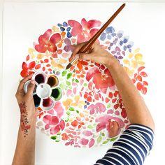 Arte de la pared acuarela floral. Decoración de la pared de