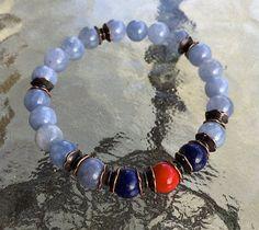 Aquamarine Lapis Lazuli Red Coral Handmade Mala Be