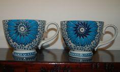 Dutch Wax by Coastline Imports Blue & White Floral Mug Cup NEW Ships Free!