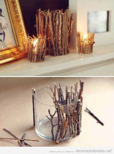 Idea decoración DIY jarrón y portavelas con ramas de árboles