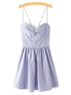 Fitting Lace-Up Spaghetti Straps Sleeveless Dress - BLUE S Mobile