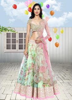 Rock the hottest floral fashion trend with this stunning mint colored lehenga! #Mint #Green #Floral