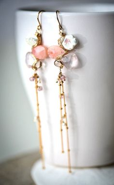 Pink Opal White Keishi Rose Quartz and Smoky Quartz