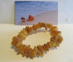 Natural genuine Baltic amber Bracelet 14.0 g brown beads raw stones unpolished #Handmade #Beaded