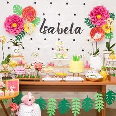 Tropical Party: 110 ideas and tutorials full of joy and colors Flamingo Birthday, Luau Birthday, Flamingo Party, Birthday Party Themes, Aloha Party, Luau Party, Tropical Party Decorations, Birthday Decorations, Happy Party