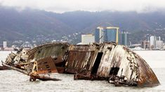 30 Beautifully Haunting Shipwrecks From Around the World One of many shipwrecks around Port of Spain's Harbour, Trinidad And Tobago.