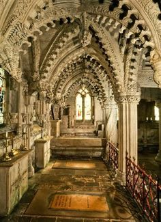 Rosslyn Chapel is a church in the village of Roslin, seven miles from Edinburgh in Scotland. Ancient Architecture, Beautiful Architecture, Beautiful Buildings, Beautiful Places, Rosslyn Chapel, Cathedral Church, Old Churches, England And Scotland, Scotland Uk