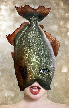 ♂ Dream Imagination Surrealism Surreal Photography by Sonja Hesslow lady with fish head