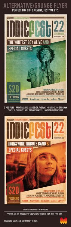 "Buy Indie Fest Flyer/Poster by moodboy on GraphicRiver. ""Indie Fest Flyer/Poster"" – This flyer/poster was designed to promote music event, such as a gig, concert, festival, . Flyer Design, Design Typo, Gfx Design, Flyer And Poster Design, Layout Design, Design Art, Print Design, Poster Designs, Brochure Design"