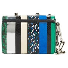 Proenza Schouler 'Hava Exotic Spheres' Embellished Leather Clutch ❤ liked on Polyvore featuring bags, handbags, clutches, oversized clutches, real leather purses, python purse, oversized purse and snakeskin purse