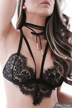 See Through Black Sexy Lace Bralet with No Falsies