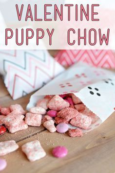Valentine Puppy Chow - Easy and delicious. Perfect to serve at a Valentine's Day Party. Made with Red Velvet cake mix.