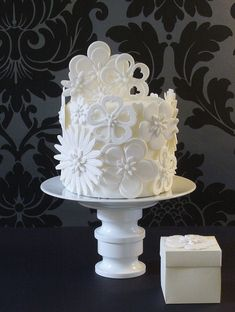 White on white flower cake
