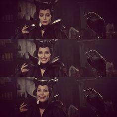 Angelina Jolie as Maleficent and crow in tow Maleficent Wings, Maleficent 2014, Maleficent Movie, Malificent, Dark Disney, Disney Love, Disney Magic, Best Villains, Disney Villains