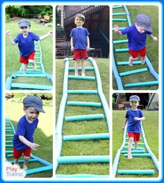 Summer Fun for Kids: Pool Noodle Train Tracks - fun way to stay cool this summer (summer things pool noodles) Transportation Activities, Train Activities, Gross Motor Activities, Gross Motor Skills, Summer Activities, Preschool Activities, Trains Preschool, Summer Fun For Kids, Trains Birthday Party