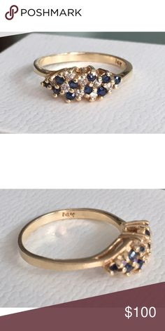Vintage Blue Sapphire Cluster 14K Gold Ring Size: 6.5 Jewelry Rings