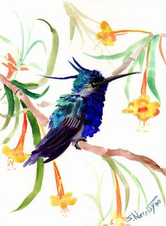 Hummingbird+original+watercolor+painting+9+X+12+by+ORIGINALONLY,+$24.00