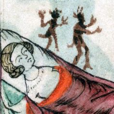 little devils on the bed'The Taymouth Hours', England 14th centuryBritish Library, Yates Thompson 13, fol. 175r