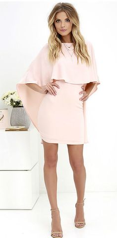 Things are looking up with items like the Best is Yet to Come Peach Backless Dress making their way into your wardrobe! Unique backless silhouette with cape sleeves. Cape Dress, Dress Up, Bodycon Dress, Day Dresses, Cute Dresses, Peach Dresses, Midi Dresses, Dresses For Teens, Dresses Online