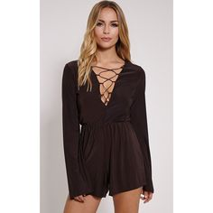 88e44d1ce55 The Talma Black Lace Up Slinky Playsuit. Head online and shop this season s  range of knitwear at PrettyLittleThing.