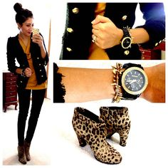 Hello, Gorgeous!: Yellow top, Tweed blazer c/o Eden Revolution, The Limited Skinny Pants, Leopard print ankle boots, Stella & Dot Renegade bracelet, Watch c/o Wristology Watches